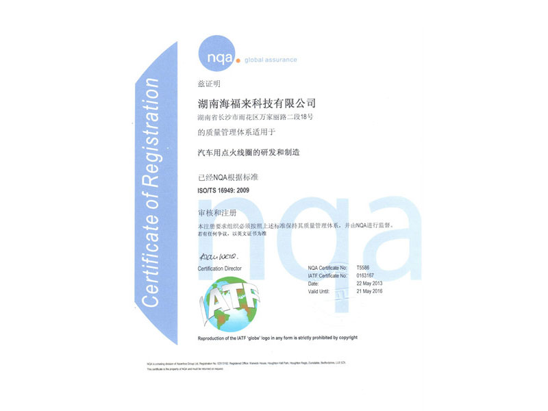 TS16949 Certificate In Chinese